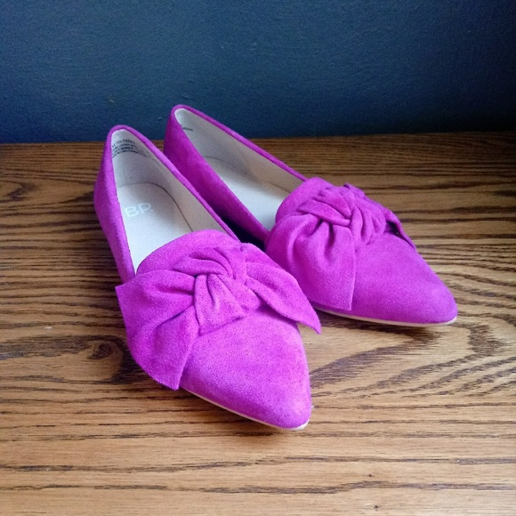 318e1ab585f BP. Shoes - BP Kari Bow Loafer Knot Suede Leather Heel Fushia